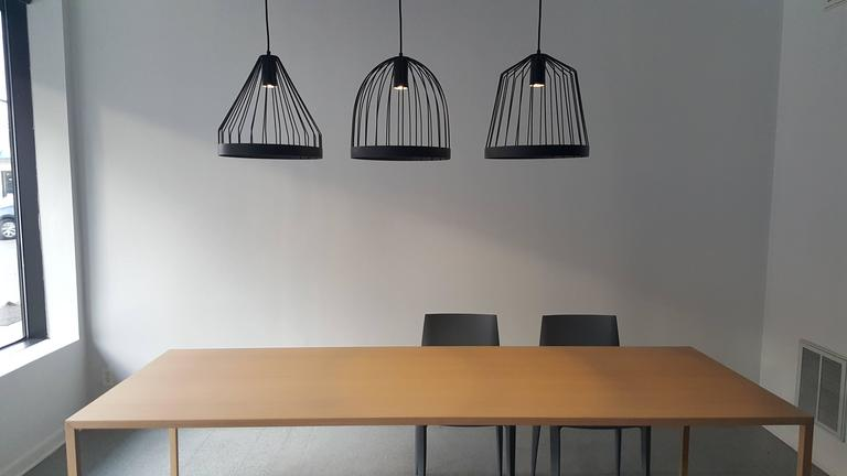 UL Contemporary Concealed Led Black Steel Pendant Light, USA, In Stock Shape