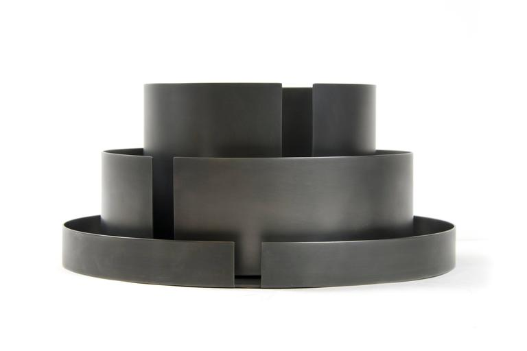 American Contemporary Decorative Dark St. Steel Tall Bowl Vessel Centerpiece, In Stock For Sale