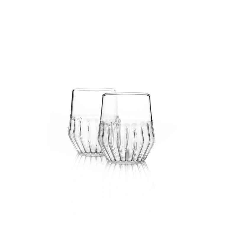 Modern Felicia Ferrone Contemporary Mixed Carafe Pitcher and Six Mixed Small Glass Set For Sale