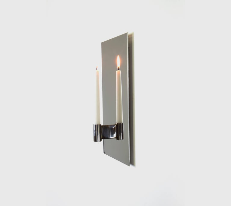 Contemporary Pair of Mirror Polished Stainless Steel Candle Wall Scones In Stock In New Condition For Sale In Chicago, IL