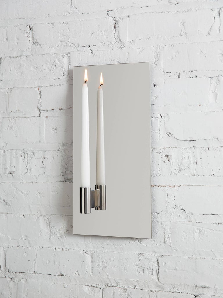 American Contemporary Pair of Mirror Polished Stainless Steel Candle Wall Scones In Stock For Sale