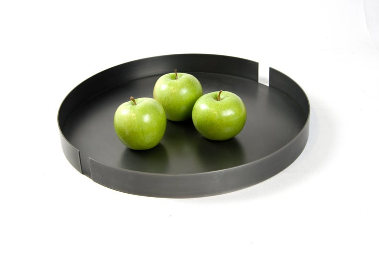 American Sculptural Darkened Minimal Steel Centerpiece Tray with Two Vessels USA In Stock For Sale