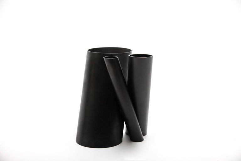 Hand-Painted Contemporary Minimal Triple Black Steel Flower Sculptural Vase, In Stock USA For Sale