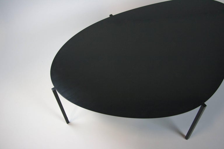 Modern Contemporary Black Painted Steel Organic Minimal Coffee Table, USA For Sale