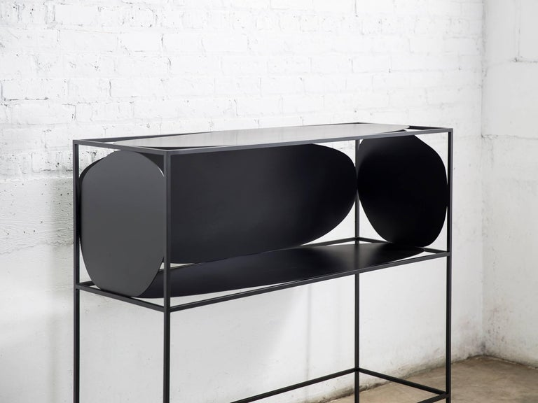 Contemporary Sculptural Steel Black Credenza Buffet Bar Handcrafted USA In New Condition For Sale In Chicago, IL