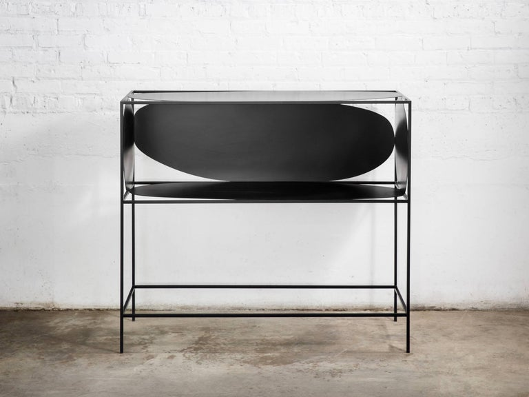 Contemporary Sculptural Steel Black Credenza Buffet Bar Handcrafted USA For Sale 1