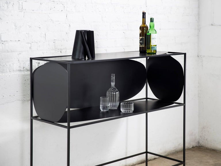 Hand-Painted Contemporary Sculptural Steel Black Credenza Buffet Bar Handcrafted USA For Sale
