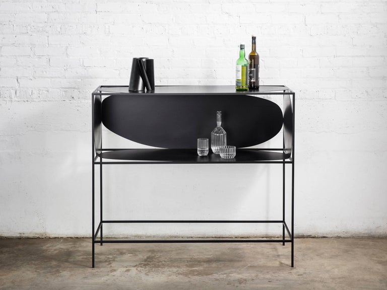 American Contemporary Sculptural Steel Black Credenza Buffet Bar Handcrafted USA For Sale