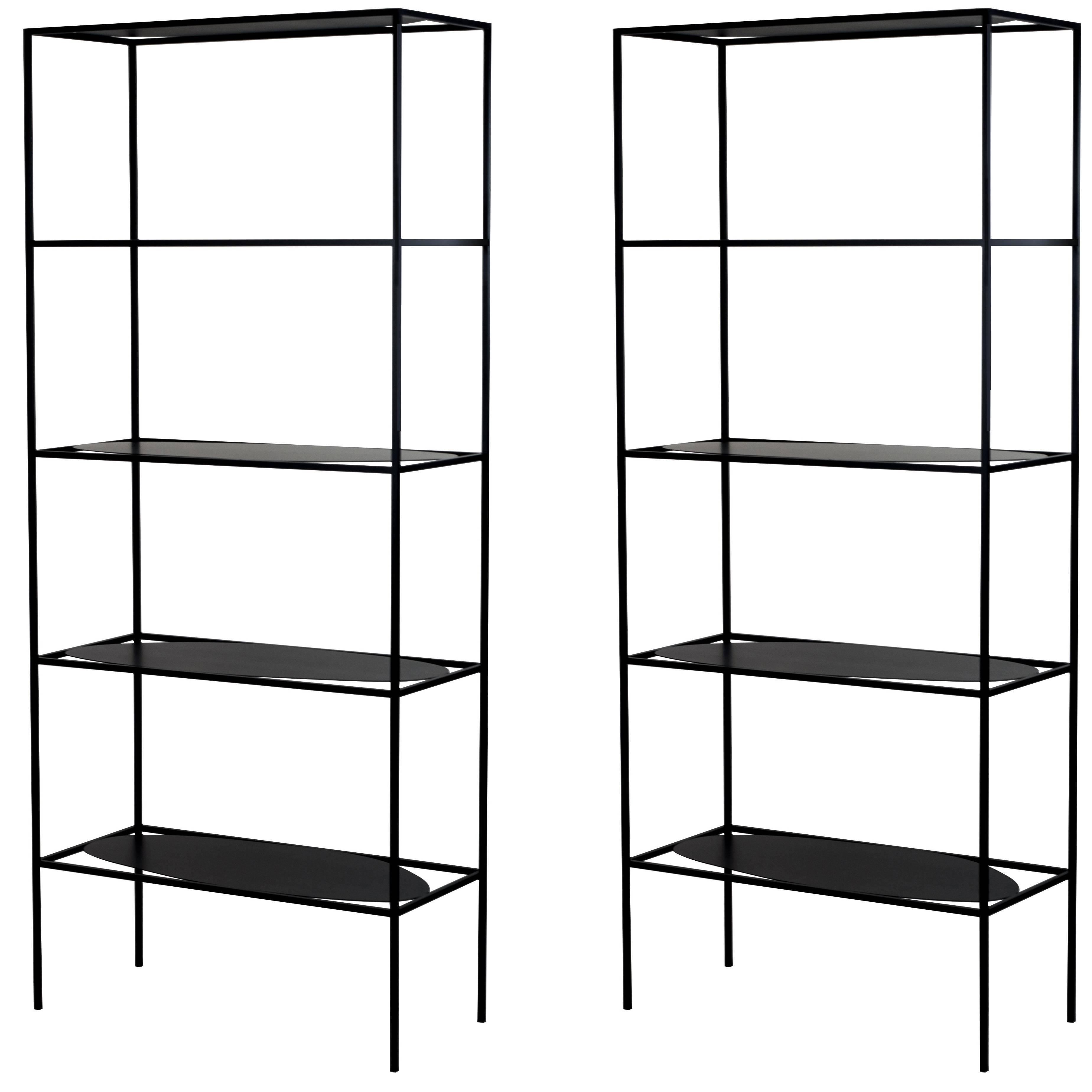 contemporary sculptural black steel etagere bookcase storage shelf rh 1stdibs com modern wall storage shelves modern wall storage shelves