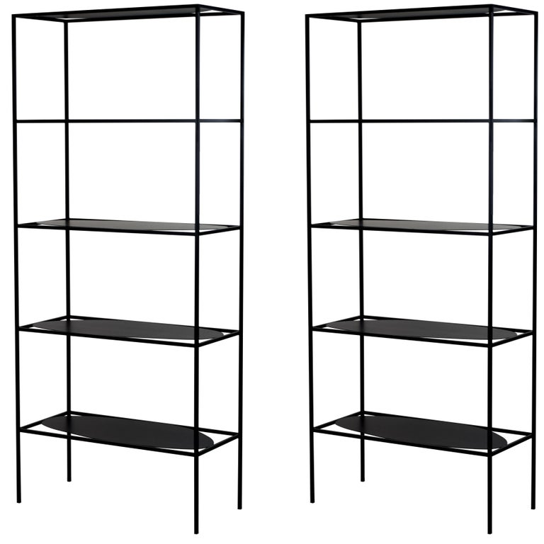 Pair of Modern Steel Ahn Etagere Bookcase Storage Shelves by Fferrone, USA