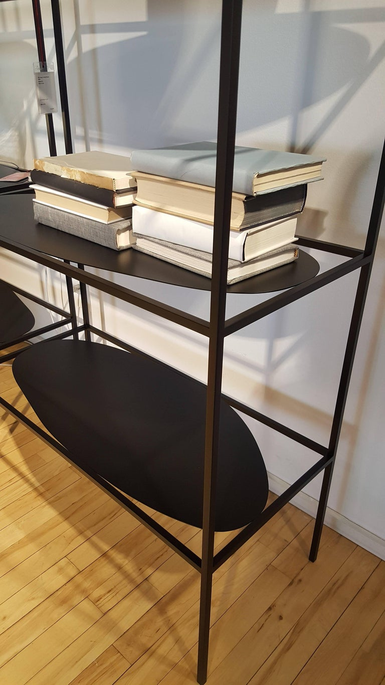 Hand-Painted Contemporary Sculptural Black Steel Etagere Bookcase Storage Shelf Pair, USA For Sale