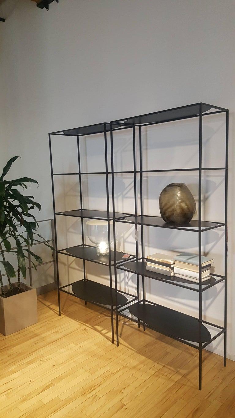 Modern Contemporary Sculptural Black Steel Etagere Bookcase Storage Shelf Pair, USA For Sale