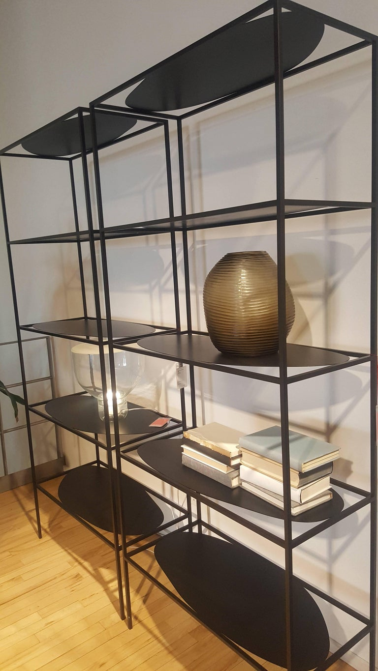 Contemporary Sculptural Black Steel Etagere Bookcase Storage Shelf Pair, USA For Sale 1