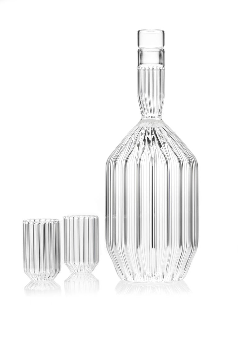 Czech Clear Contemporary Decanter and Eight Liqueur Shot Glass Set, In Stock For Sale 1