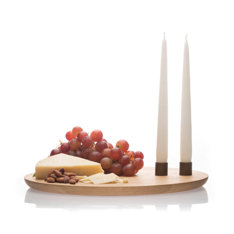 Modern Contemporary Serving Tray Charcuterie Board Candelabra Centerpiece In Stock For Sale