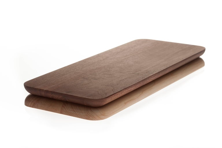 American Contemporary Rectangular Wood Serving Tray Chopping Serve Board, USA, In Stock For Sale