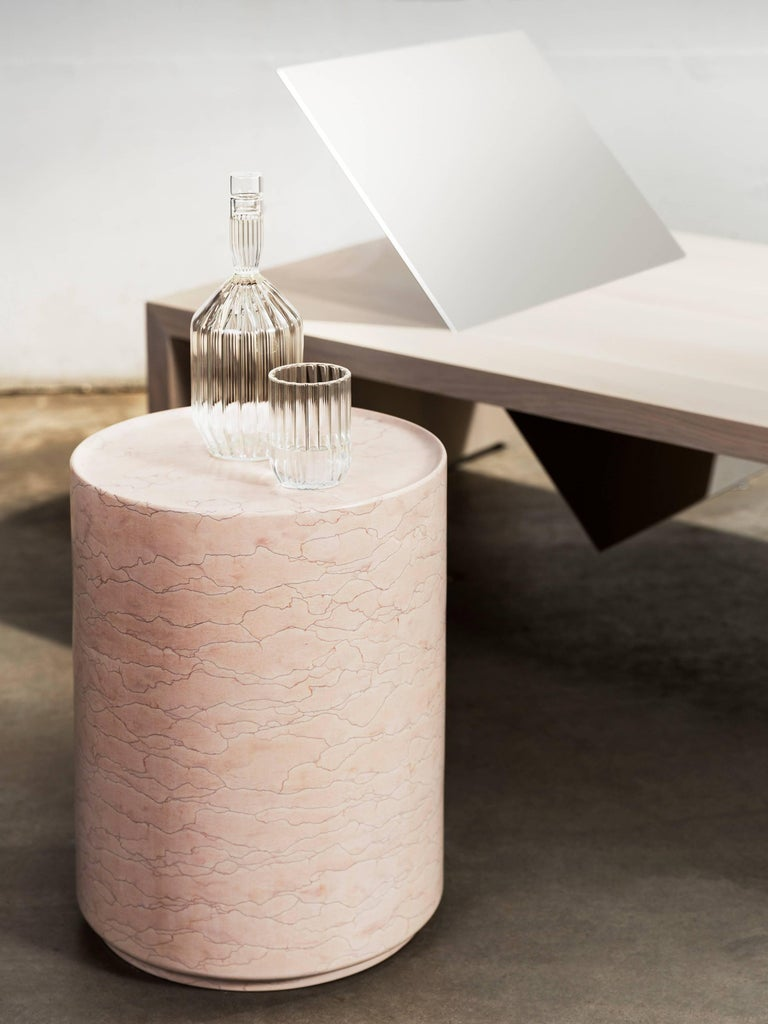 Modern Contemporary Minimal Pink Amara Marble Side Table Handcrafted in Italy IN STOCK For Sale