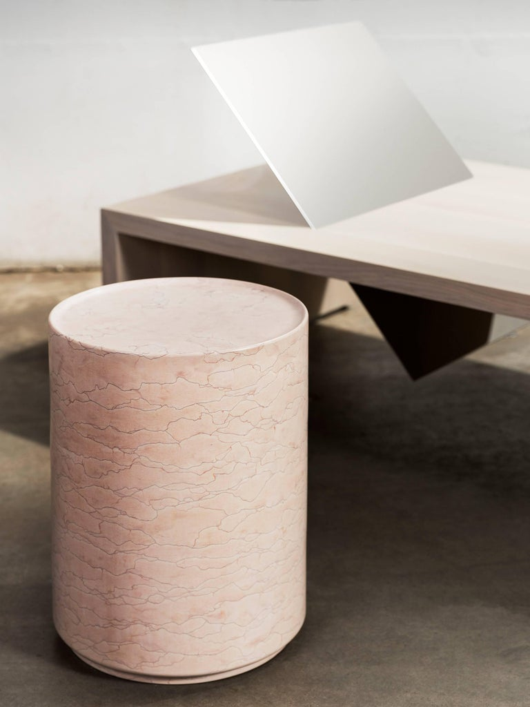 Carved Contemporary Minimal Pink Amara Marble Side Table Handcrafted in Italy IN STOCK For Sale