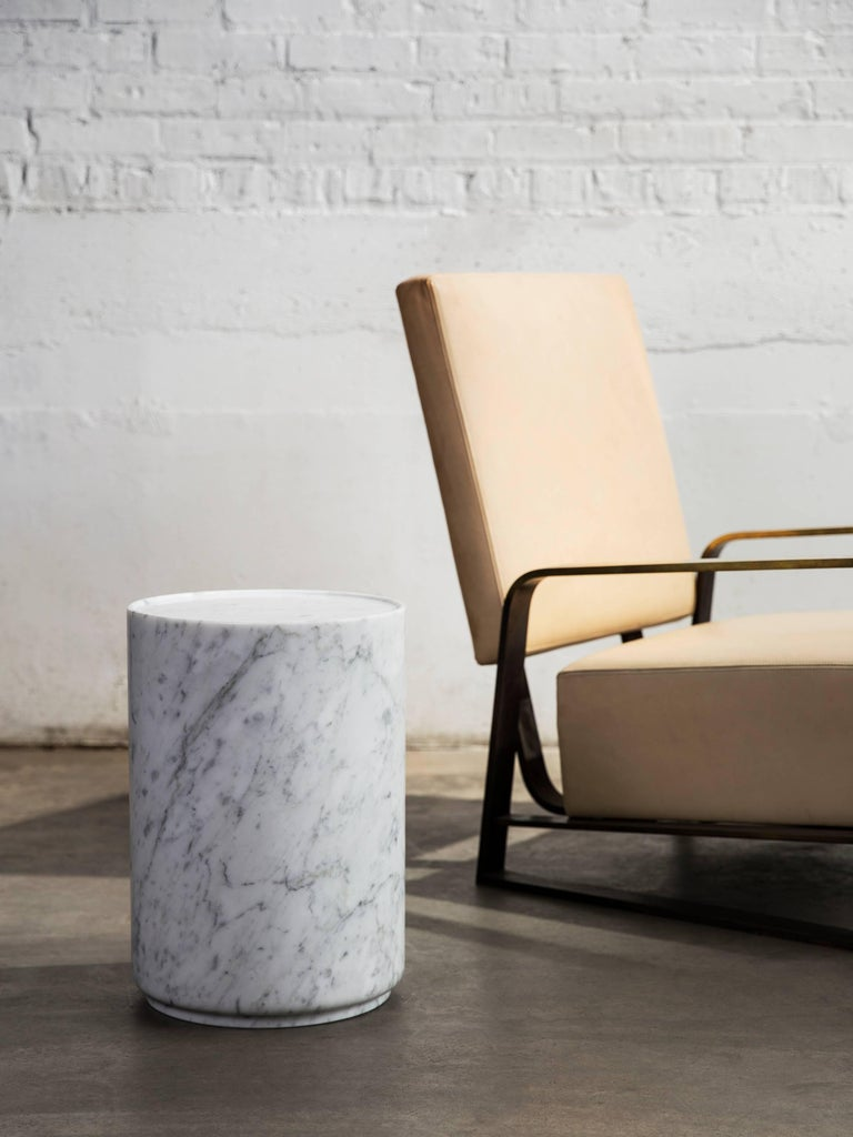 Italian Contemporary Minimal Handcrafted in Italy Carrara Marble Side Table In Stock  For Sale