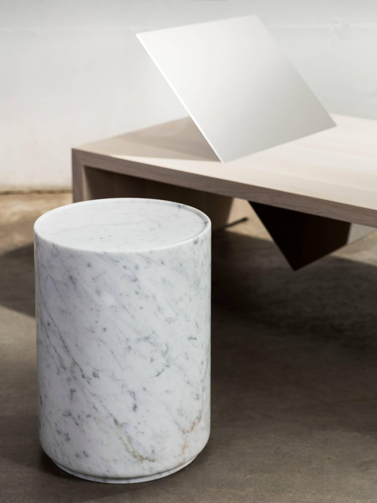 Carved Contemporary Minimal Handcrafted in Italy Carrara Marble Side Table In Stock  For Sale