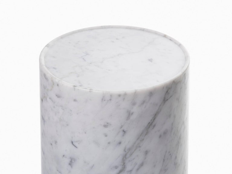 Modern Contemporary Minimal Handcrafted in Italy Carrara Marble Side Table In Stock  For Sale
