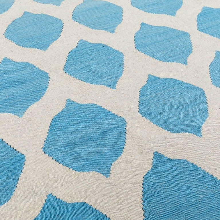Handmade contemporary flatweave blue and beige colors 285x265 cm modern design for sale at 1stdibs - Alfombras kilim madrid ...