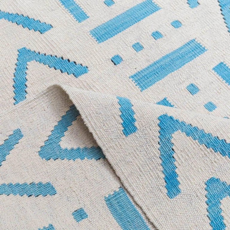 Handmade contemporary flat weave blue and beige colors modern design at 1stdibs - Alfombras kilim madrid ...