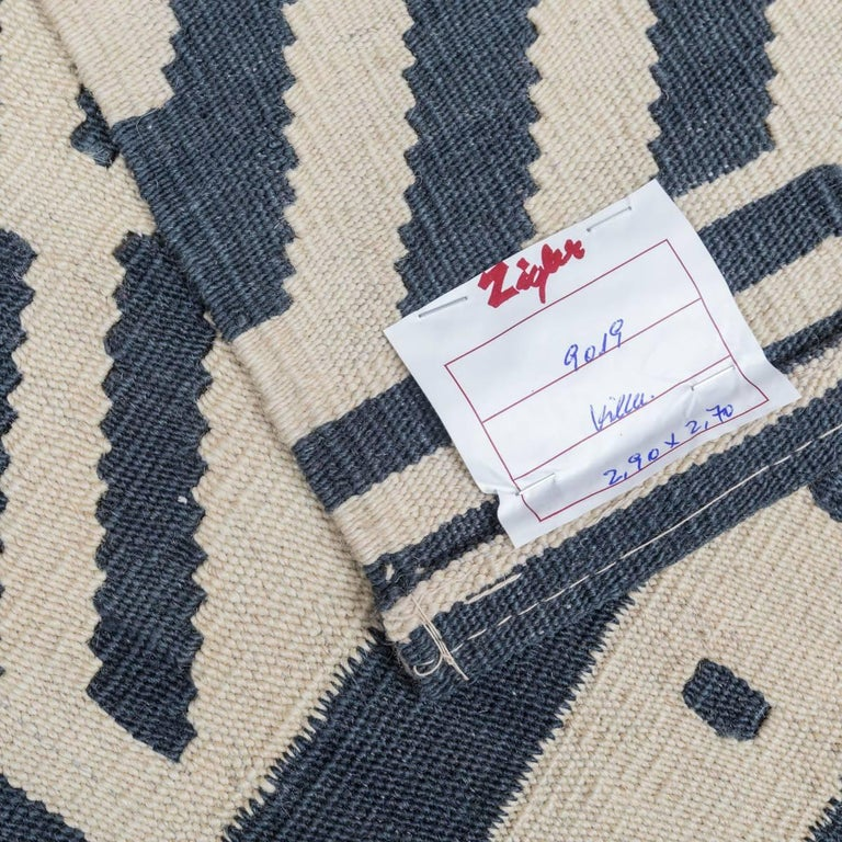 Handmade contemporary flat weave blue and beige bereber collection for sale at 1stdibs - Alfombras kilim madrid ...