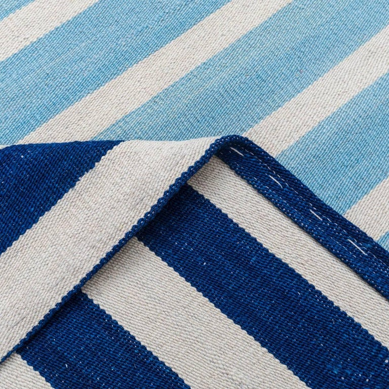 Handmade contemporary flat weave blue modern design for sale at 1stdibs - Alfombras kilim madrid ...