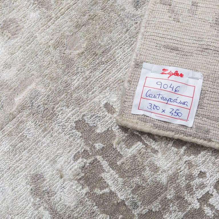 Wool Silk Rugs Contemporary: Handmade Contemporary Rug In Silk And Wool Grays Shades
