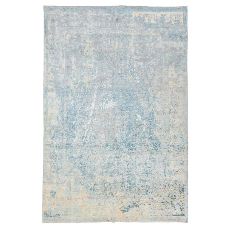 Wool Silk Rugs Contemporary: Handmade Contemporary Rug In Silk And Wool Blue And Beige