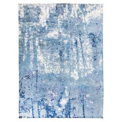 Handmade Contemporary Rug in Silk and Wool Blue Shades
