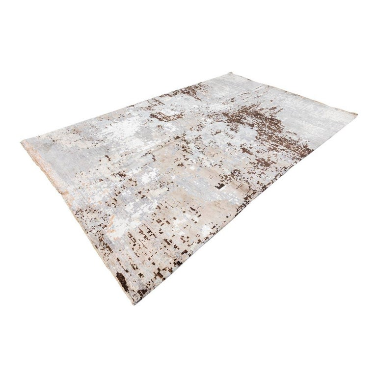 Wool Silk Rugs Contemporary: Handmade Contemporary Rug In Silk And Wool Gray And Brown