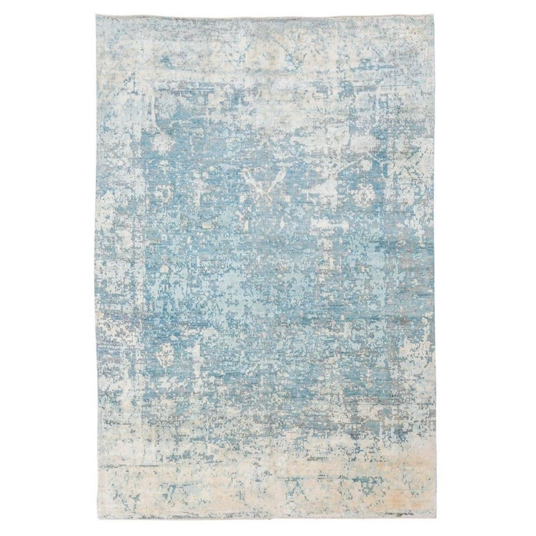 Wool Silk Rugs Contemporary: Handmade Contemporary Rug In Silk And Wool Turquoise And