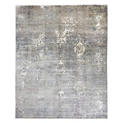21st Century Silk and Wool Rug, Grey Colors over Abstract Design.