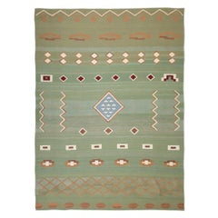 Contemporary Kilim in Green tones of Ethnic style