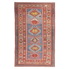 Antique Shirvan Rug of 1900 Design Made in Wool with Classic Geometrical Figures