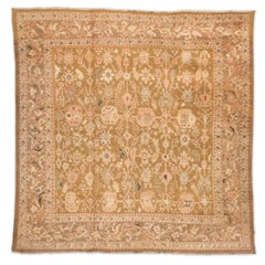 Late 19th Century Cream and Salmon over Beige and Camel Backgroud Wool Ziegler