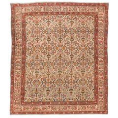 Late 19th Century Orange and lands over Light Background Wool Agra Rug