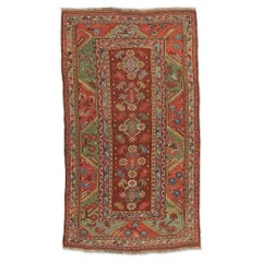 19th Century Red, Green and Blue Colors over Antique Turkish Melas Rug
