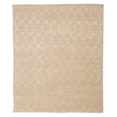 21st Century Modern Silk and Wool Rug, Geometric Design with Beige Colors