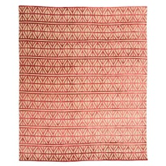 21st Century Modern Silk and Wool Rug, Geometric Design with Red Colors