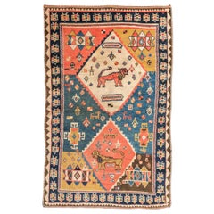 19th Century Persian Wool Rug, Gabbeh, Classical Design, circa 1880