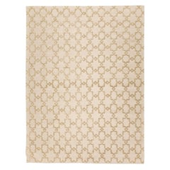 Contemporary Handmade Rug, Geometric Design in Beige Soft Color