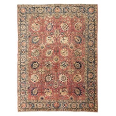 20th Century Persian Wool Rug, Tabriz Design with Pamls and Rossettes