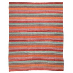 Contemporary, Handmade Flat-Weave Rug, Multicolored Lines Design