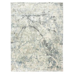 Contemporary Rug, Abstract Design on Gray and Blue Colors
