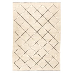 Contemporary Kilim, Rhombus Berber Design with Beige and Black Colors