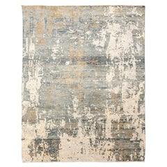 Contemporary Rug, Abstract Design with Gray and Beige Colors