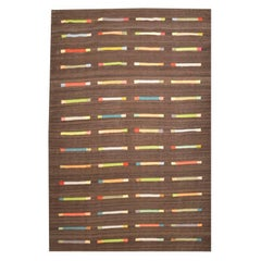 Ethnic Design Kilim on Brown Background with Multicolored Geometries